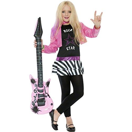 �dchen Kostüm Popstar Kinderkostüm M - 130-143 cm 7-9 Jahre 80er Jahre Rockerin Kinderverkleidung Karneval Mädchenkostüm (Kinder Rockstar Kostüm)