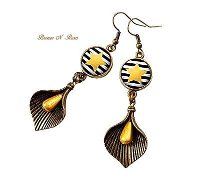 Boucles d'oreilles étoiles jaunes rayures noires cadeau Noël bronze-n-roses