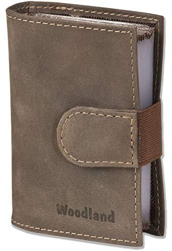 XXL-Kreditkartenetui Leder mit Platz für insgesamt 18 Kreditkarten aus weichem naturbelassenem Büffelleder Dunkelbraun/Taupe AM-6852907