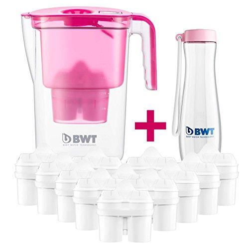 BWT - 815533-A - Tischwasserfilter VIDA - 2,6 l, pink - Wasserfilterkanne mit 13 Filter-Kartuschen für Magnesium Mineralized Water inkl. Tritan™ Flasche in rosa