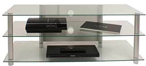 """VCM TV Rack Lowboard Konsole LCD LED Fernsehtisch Möbel Bank Glastisch Tisch Schrank Aluminium Klarglas """"Zumbo"""""""