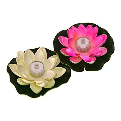 Seerose LED Dekolampen in rosa und weiß für die Badewanne im 2er Set - Dekoleuchte Dekolicht Pflanze