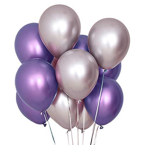 Juland 50 PCS Globos metalicos de Fiesta Globos de látex de Metal Brillante Perla 12 'Thick Pearly Chrome Globos inflables de aleación de Aire para cumpleaños, Despedida de Soltera - Morado y Plata