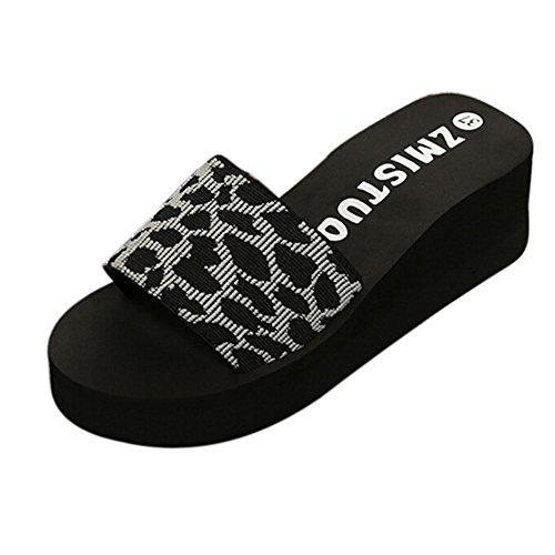 SHE.White Hausschuhe Damen Leopard Drucken Sommer Keilabsatz Badeschuhe Strand Pantoffeln mit Plateau Freizeit Schlappen Sandalen Plateausandalen (Nike-dusche Schuhe Für Jungen)