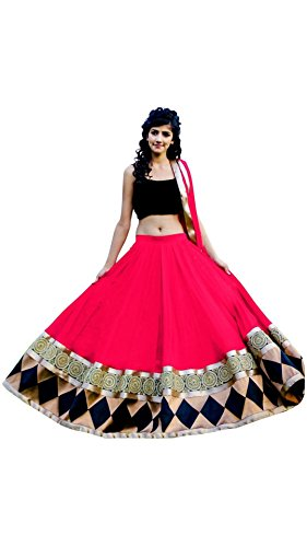 Vipul Women\'s Branded Black & RED Party Wear Georgette Lehenga (Best Gift For Mummy Mom Wife Girl Friend, Exclusive Offers and Sale Discount)