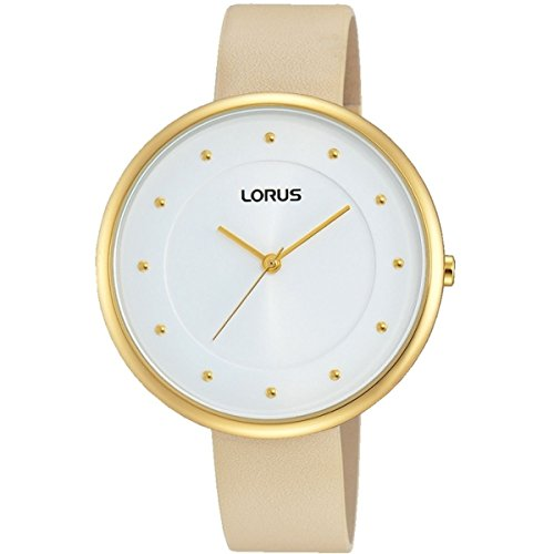 Lorus Ladies Gold Watch with Beige Leather Strap RG294JX9