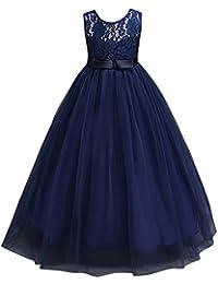 Vestido de Princesa de Niñas Vestidos Sin Mangas Vestidos Elegante de Coctel Fiesta Largos de Noche Bodas y Ceremonia Azul Oscuro 13-14 años