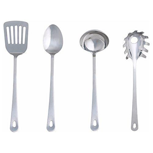 """IKEA Küchenutensilien """"GRUNKA"""" 4-tlg. Küchenhelfer-Set bestehend aus Löffel, Kelle, Bratenwender und Spaghettikelle - aus EDELSTAHL"""