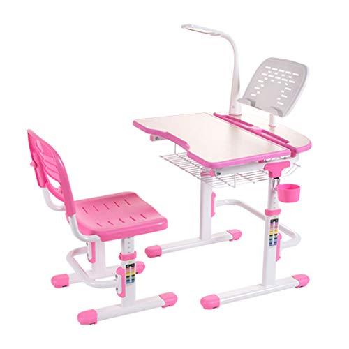 Kinderarbeitsschreibtischheim mit Haltungsstuhlschreibtischstudentenaufzugschreibtischaugenschutzschreibtischlampentisch und -Stuhl (Color : PINK, Size : 70 * 54 * 74CM(27 * 21 * 29IN)) (Fern-panel)