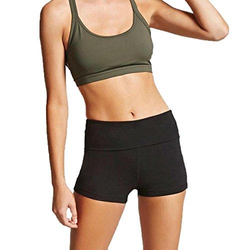 TUDUZ Yoga Elastische Sport Shorts Frauen Beiläufige Taille kurze Hosen (Schwarz, S)