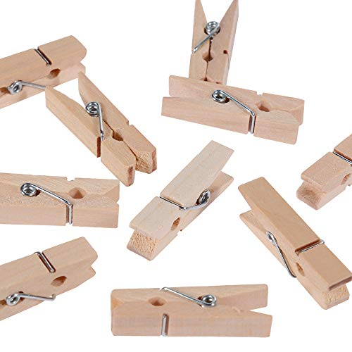 Anpro 150pcs Mini Wooden Pegs, Mini Pegs for Holding Photo Paper, Photo Pegs for Craft and DIY Decoration, Mini Wooden Clothespins