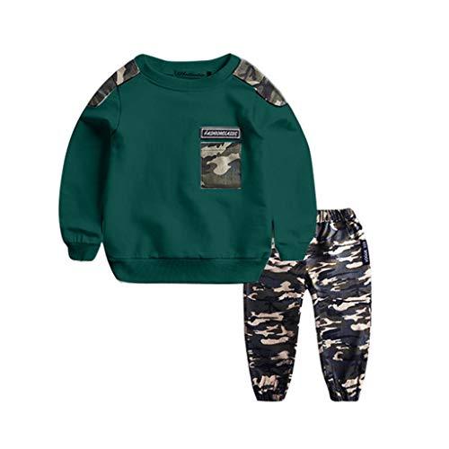 1-11 Años,SO-buts Niños Adolescentes Niños Bebés Carta De Otoño Invierno Chándal Tops Sudadera Pantalones De Camuflaje Conjunto De Trajes (Verde,7-9 años)