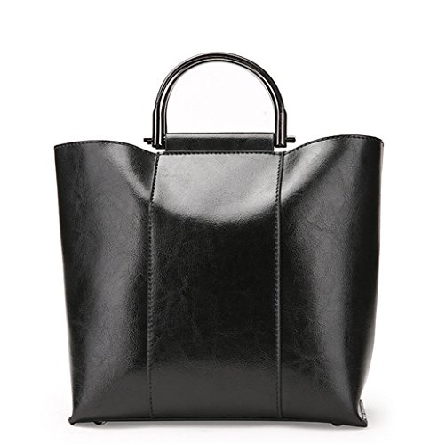 f7b1b77436f6a XinMaoYuan Große Kapazität Paket Einfach Atmosphäre Damen Schulter Diagonal  Paket Öl Wachs Leder Handtasche Schwarz