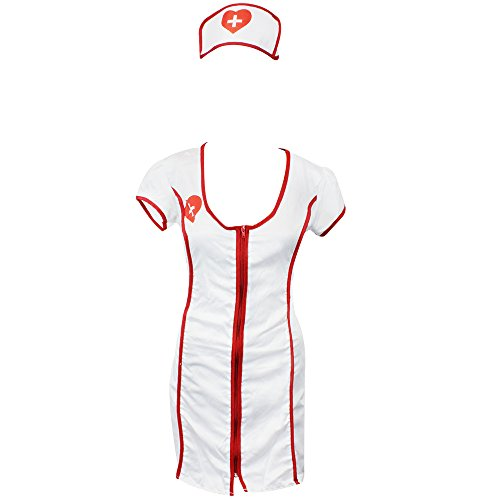 com-four® Sexy Krankenschwester Kostüm Set für Fasching, Karneval, Halloween (Größe M) (01 Stück - Krankenschwester ()