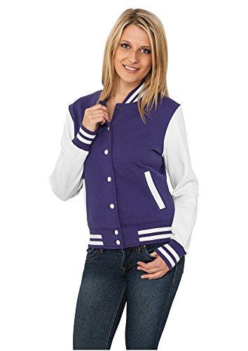 Ladies 2-tone College Sweatjacket pur/wht L