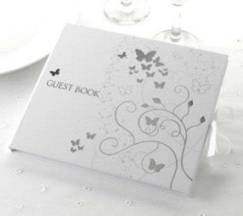 Hochzeits Gästebuch mit Schmetterling in weiss