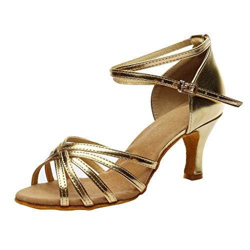 Tanzschuhe Damen Gold,Dasongff Frau Standard & Latein Dance Schuhe Peep Toe Ballschuhe Salsa Tango Shoes ProfessionelleHigh Heels Schuhe LateinischeSandalen Pumps