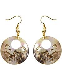 Funnyrunstore Natürliche Abalone Shell Ohrringe Leuchtende Runde Form  Tropfen Baumeln Ohrringe… 818406b6c4c
