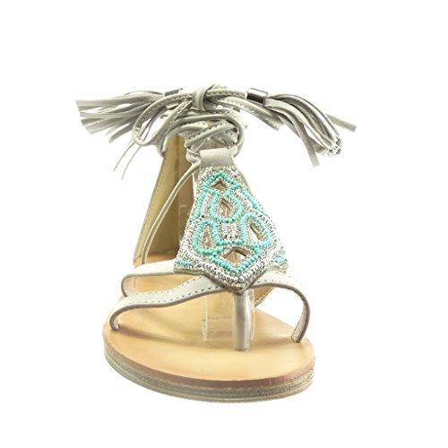 Angkorly Chaussure Mode Sandale ouverte femme frange pom-pom perle Talon plat 1.5 CM Gris