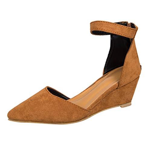 Damen Keil Freizeitschuhe, LeeMon Strandschuhe Lederschuhe High Heels Flache Schuhe Mädchen Plateauschuhe Spitze Sandalen