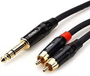 """MIATIN 6.35mm 1/4"""" TRS Male to Dual RCA Male Aux Jack Stereo Audio Splitter Patch Insert Cable -1.8Meters"""