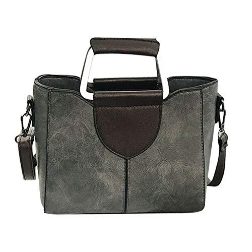VADFLOD Damen Leder Elegante Umhängetasche Doppel D-Ring Griff Handtasche Umhängetaschen Tote, Grau (Leder Tote-doppel-griff)