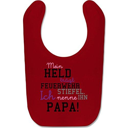 Baby - Mein Held Papa Feuerwehrmann - Unisize - Rot - BZ12 - Baby Lätzchen Baumwolle ()