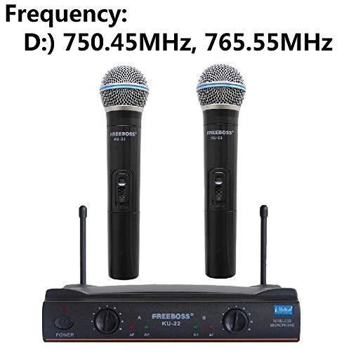 UHF Long Range Dual Channel 2 Handmikrofonsender Professionelles UHF-Funkmikrofonsystem für Karaoke ( Color : Frequency 750 765 ) -