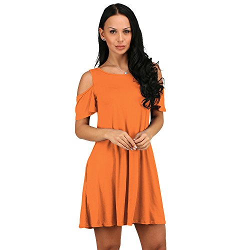 a Maniche Corte Fondo a volant Spalle Scoperte Tasca in cotone Mini Babydoll svasato a trapezioe di maternità T-Shirt Maglietta Vestito Abito Arancione