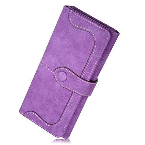 N newland Vintage-Ledertaschen Wildleder Tasche Damen Geldbörse Lang Damen Portemonnaie (Purple) -