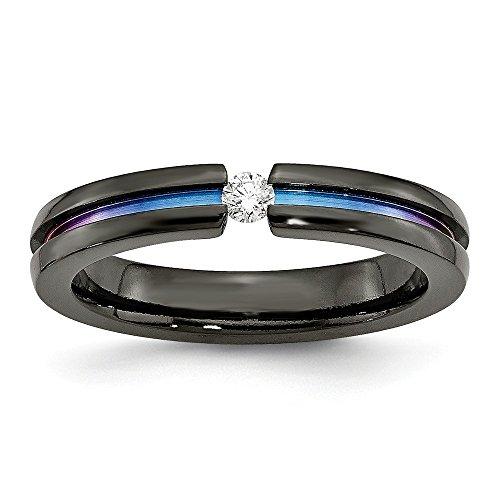 DIAMOND2DEAL INC Alianza de Boda de Titanio Negro con Diamantes anodiz