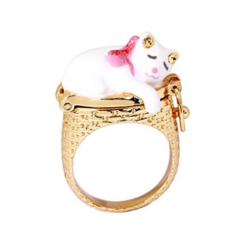 Selia Kitty Ring Enamel Gold-Plated Ring Ladies Girls Nest Creative Flip Fun Fashion Elegant Ornament Schmuck -