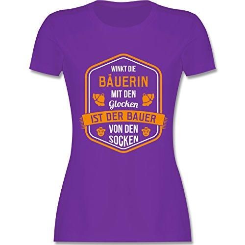 Landwirt - Bauernweisheit Glocken - tailliertes Premium T-Shirt mit Rundhalsausschnitt für Damen Lila