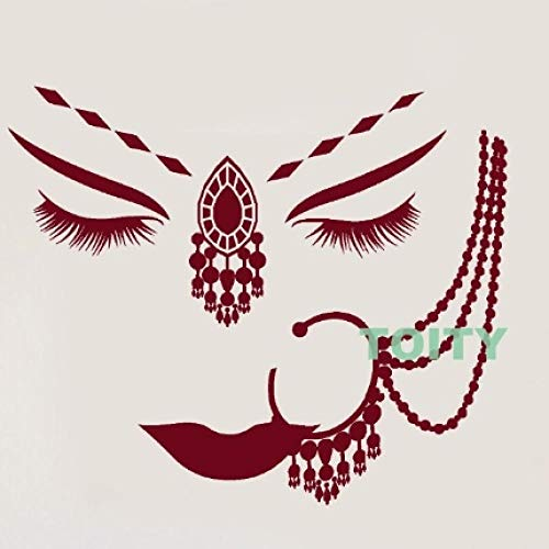 GHJL Vinyl Wandtattoo Mädchen Gesicht Piercing Frau Gesicht Aufkleber Dekor Wohnzimmer Kunst Wandbilder Kreative Haushaltswaren 56 * 68 cm