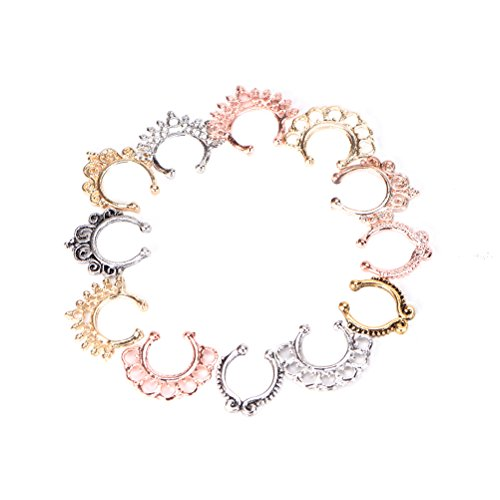 Peerless Sengoku 12 PCS Fake Nose Ring Septum No Piercing Clicker Faux Clip Non Pierced Small Hoop Ring Women Body jewelry Silver Rose Gold