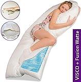 Traumreiter Visco XXL Seitenschläferkissen mit Memory Foam   Gel Schwangerschaftskissen   Gelschaum U Kissen Pregnancy Body Pillow