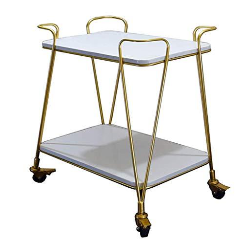 ZHTY Kitchen Bar Dining Servierwagen Tea Drink Liquor Rack Trolley, 2-stufiger traditioneller Barwagen aus Eisen und massivem Holz - Gold 61 * 38 * 76 cm