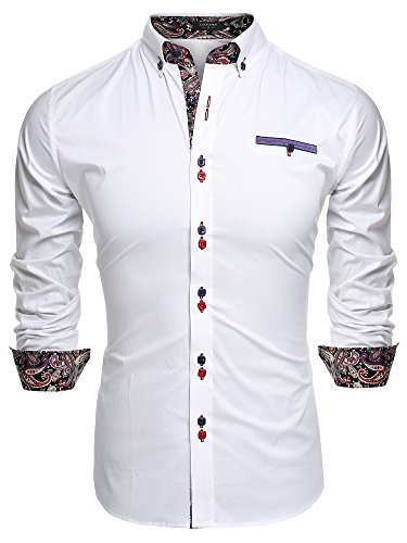 Aulei Herren Hemd slim fit Freizeitbekleidung für Business Hochzeit Fest