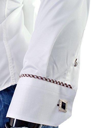 D&R Fashion elegantes Hemd mit schimmernden und Manschettenknöpfe Red Maroon Elfenbein Hell Elfenbein