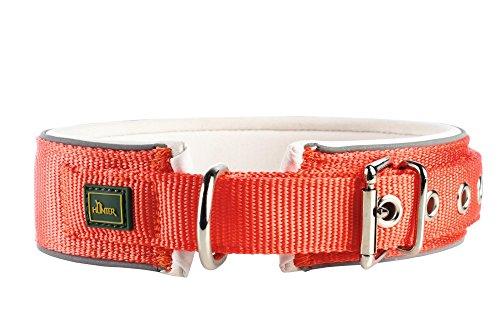 HUNTER NEOPREN REFLECT Halsband für Hunde, Nyon, Neopren gepolstert, reflektierend, 60, orange/creme -
