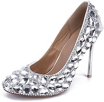 Lacitena Zapatos de Tacón Alto de Diamante de Plata de Mujer
