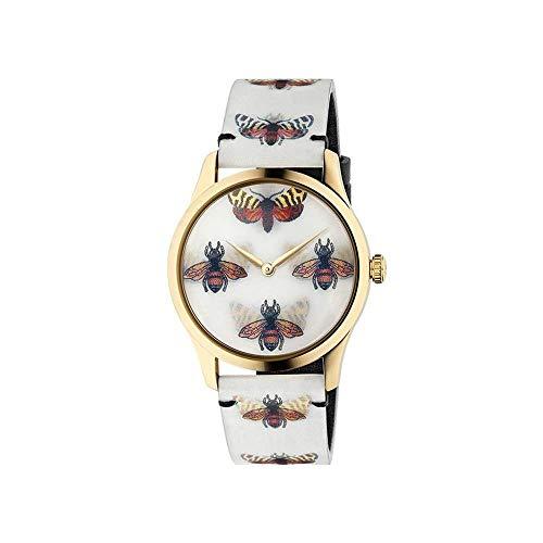 Gucci Holo Damen-Armbanduhr 38mm Armband Leder Weiß Schweizer Quarz YA1264109