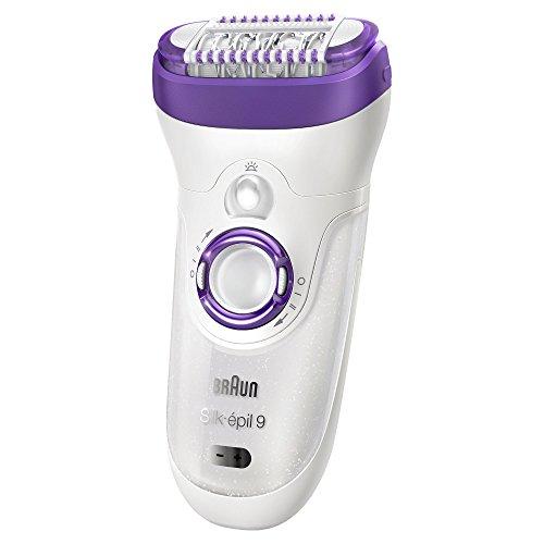 Braun Silk-épil 9 9-561 - Depiladora para mujer con tecnología Wet & Dry, sin cable, con 6 accesorios, cabezal afeitadora, cabezal de masaje, color blanco y violeta