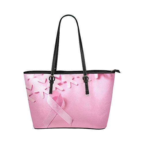 Pink Ribbon Breast Cancer Awareness Große weiche Leder Tragbare Top Hand Totes Taschen Kausale Handtaschen mit Reißverschluss Schulter Shopping Geldbörse Gepäck Organizer für die Arbeit von Lady -