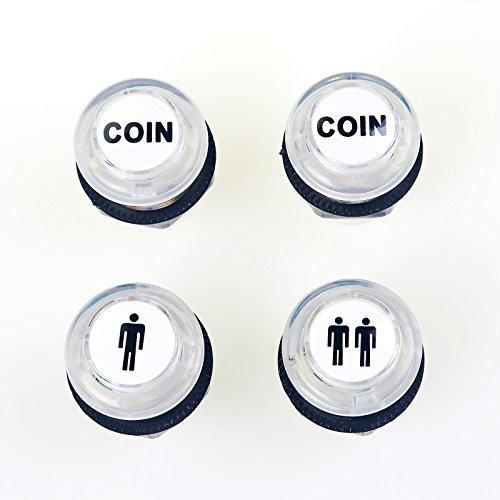 Reyann 4 pc / lotto 5V LED acceso Push Button 1P / 2P giocatore iniziale Pulsanti / Pulsanti 2x Coin per i giochi MAME / JAMMA / Lotta / Arcade Videogiochi