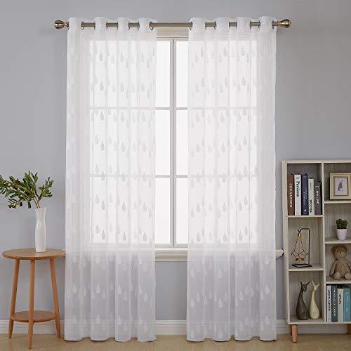 Deconovo tende trasparenti in finto cotone ricamate stampa a goccia di pioggia con occhielli 140x260 cm bianco