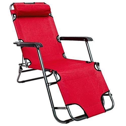Chaise Longue inclinable et pliante Transat de Jardin 153 cm + appuie-tête amovible + repose-jambes et dossier inclinable Rouge