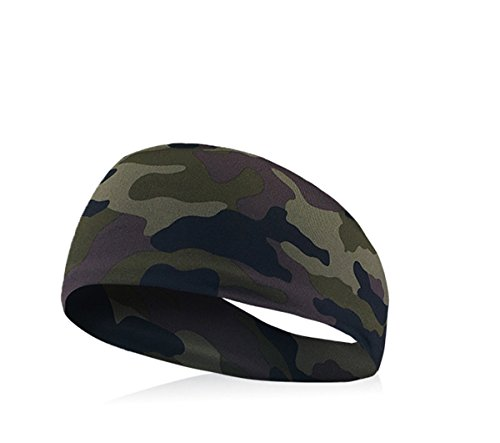 Hippolo 1 Stücke Elastische Yoga Haarband Für Laufen Fitness Gym Zubehör Stirnband Sport Unisex Haarband Schweißband Kopf (Army grün)