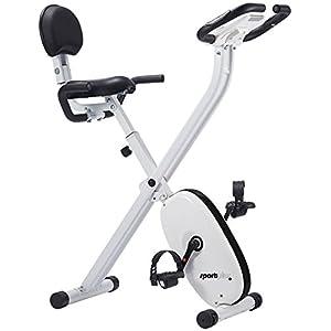SportPlus klappbarer Hometrainer mit Komfortsattel, 8 Widerstandsstufen, Handpulssensoren, faltbares X-Bike, Heimtrainer klappbar für zuhause, Sicherheit geprüft