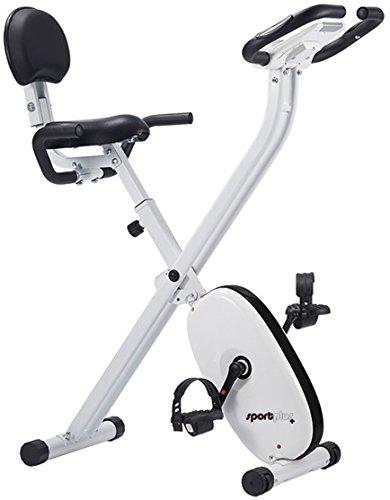 SportPlus Cyclette da Casa Pieghevole con Controllo App, Google Street View, Sellino Comodo con Schienale e Maniglie Laterali, 24 Livelli di Resistenza, Sensori Pulsazioni Integrati nel Maubrio, X-Bike Pieghevole, Sicurezza Testata
